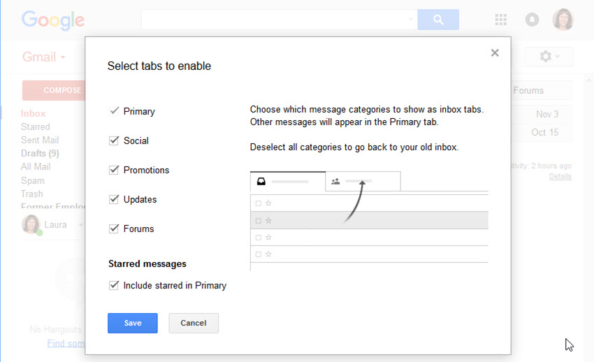 Enable or disable Gmail inbox tabs