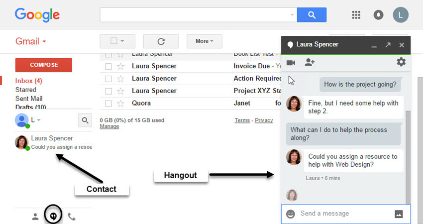 Google Hangout within Gmail Trick
