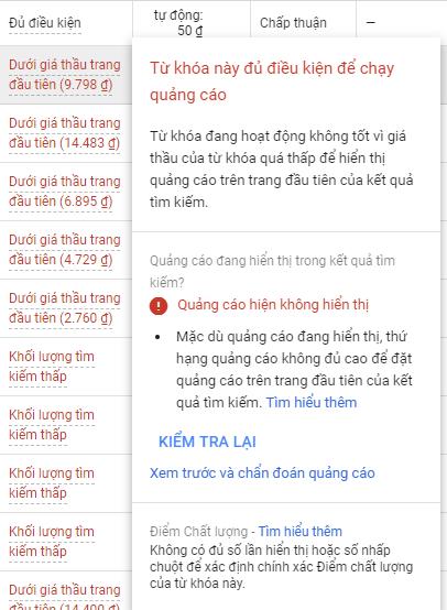 Điều chỉnh giá thầu Google Ads