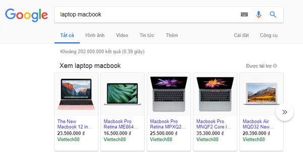 định dạng quảng cáo Google Adwords mua sắm sản phẩm
