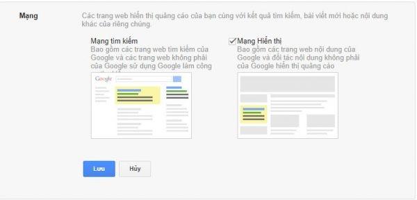 lựa chọn mạng lưới Google
