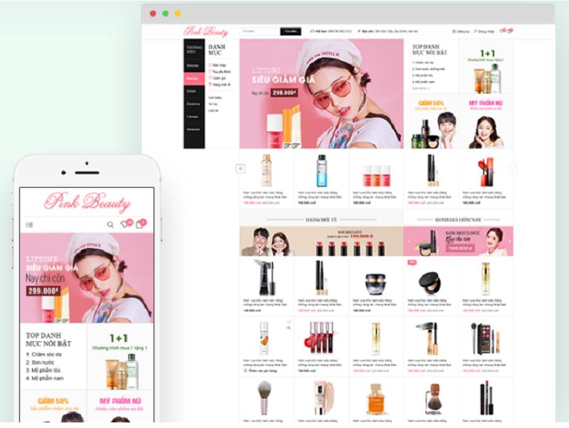 Thiết kế web mỹ phẩm với giao diện Pink Beauty